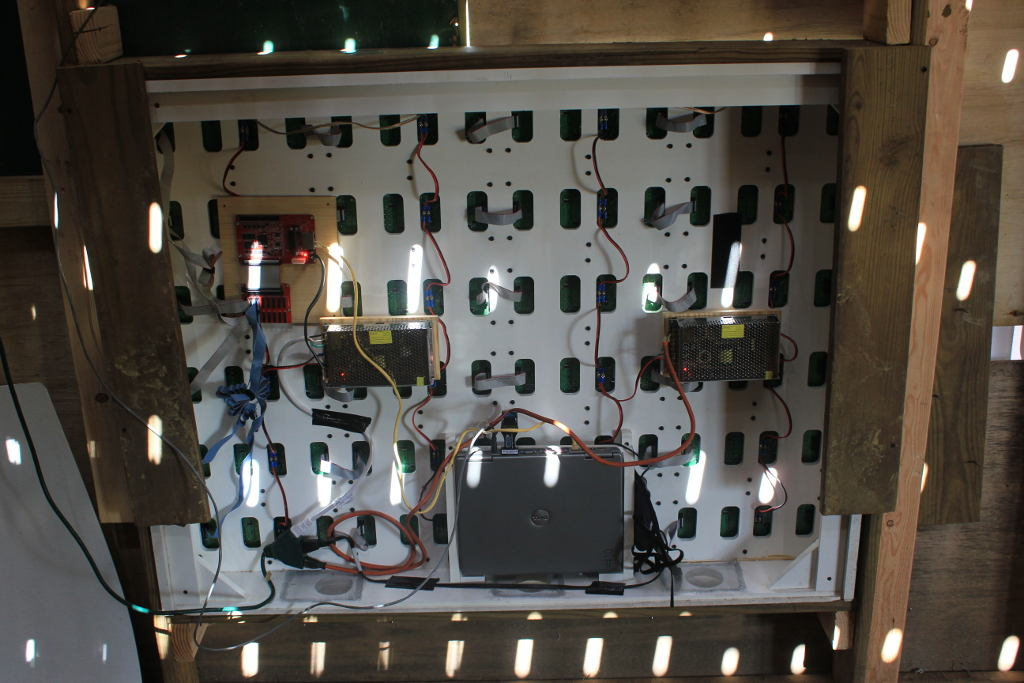 Behind the sign. Two power supplies, one laptop, a controller card and hub, and a laptop. The sign is 6 rows and 4 columns, giving us a resolution of 128x96